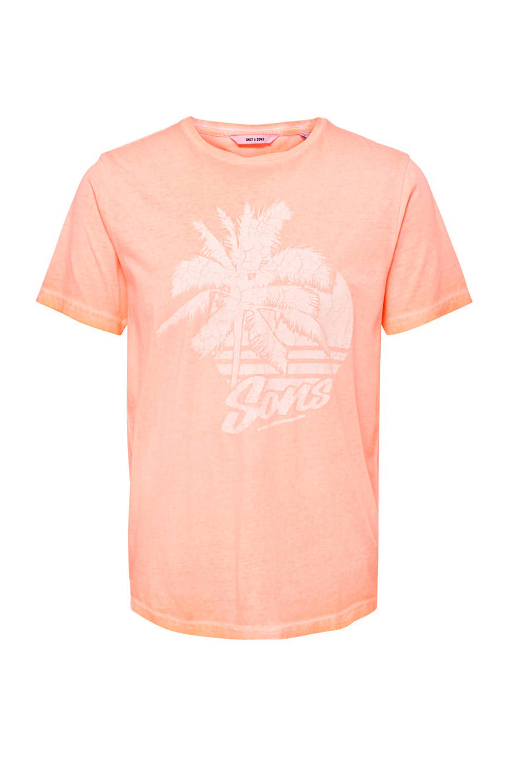 Only & Sons T-shirt met printopdruk, Zalm