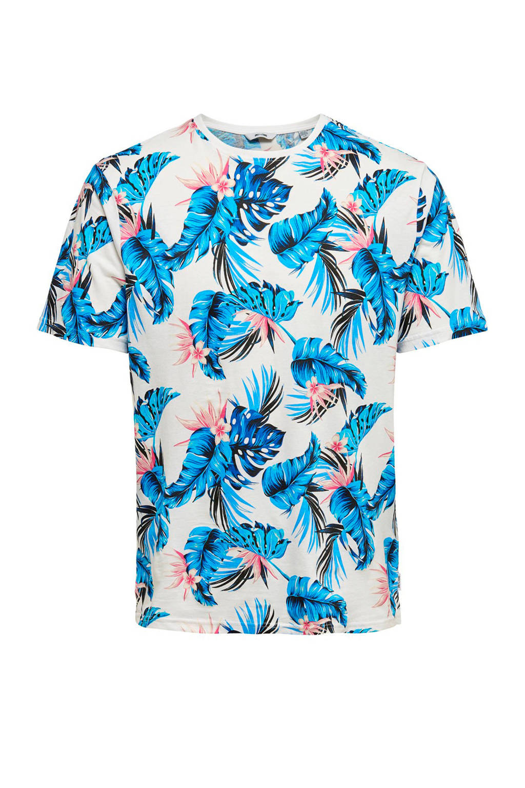 Only & Sons T-shirt wit, Wit/blauw/roze