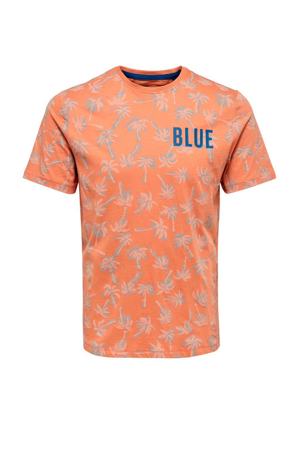 Only & Sons slim fit T-shirt met palmprint, Roodbruin