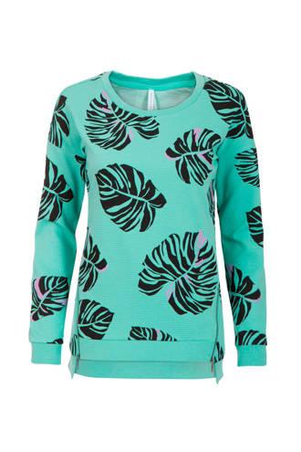 Regulier sweater met bladprint mintgroen