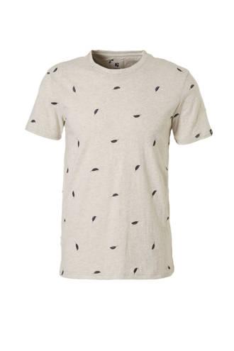 T-shirt met borduursels grijs