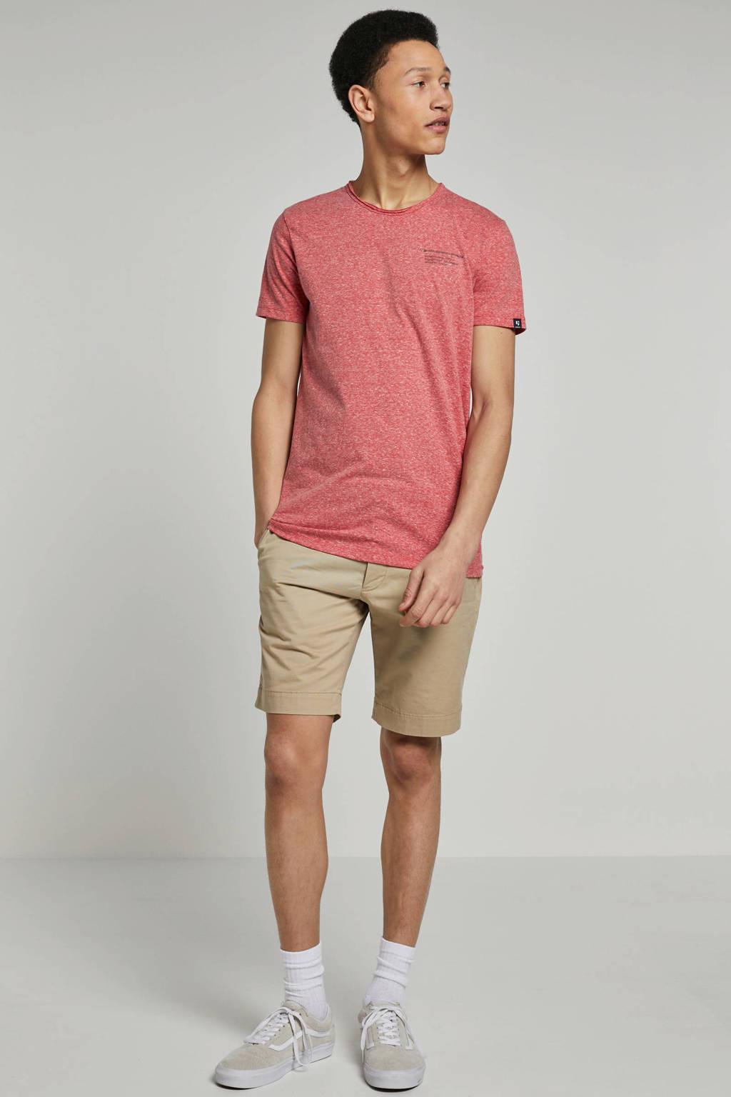 Garcia gemêleerd T-shirt met tekst, Rood/ Ecru