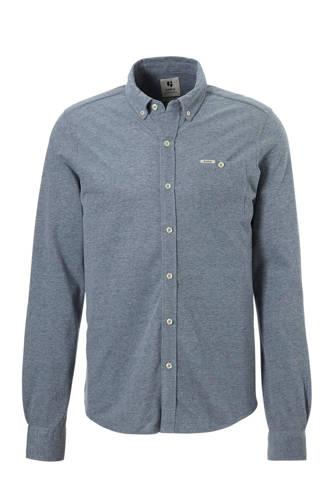 regular fit jersey overhemd blauw