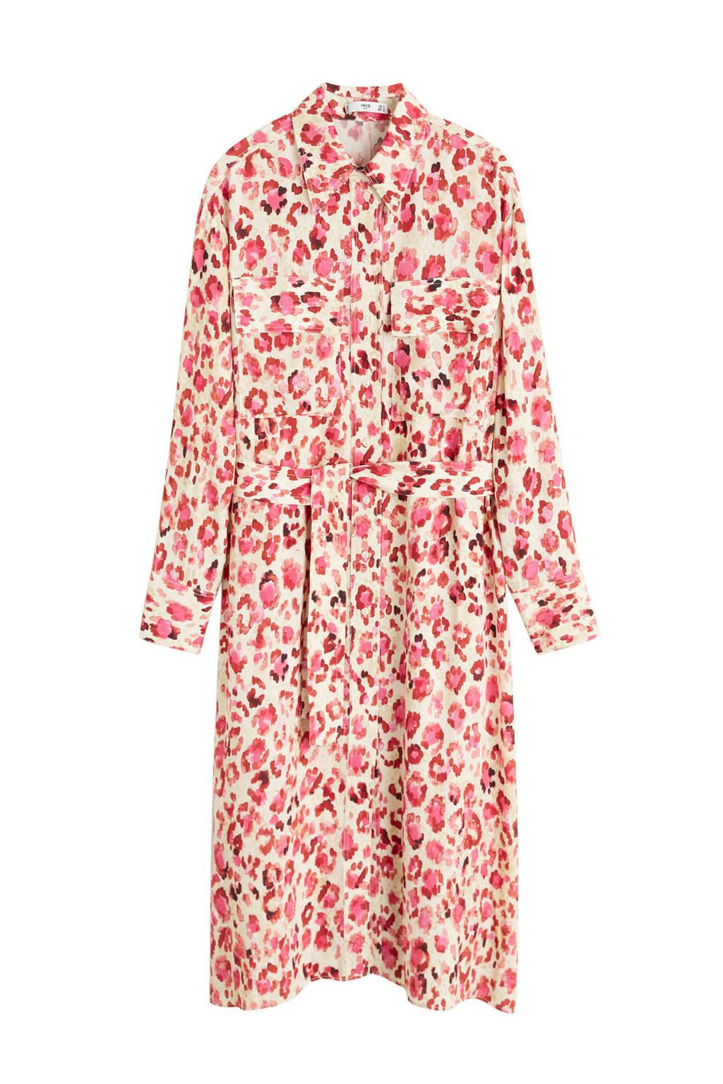 Mango jurk met panterprint, Rood/wit/roze