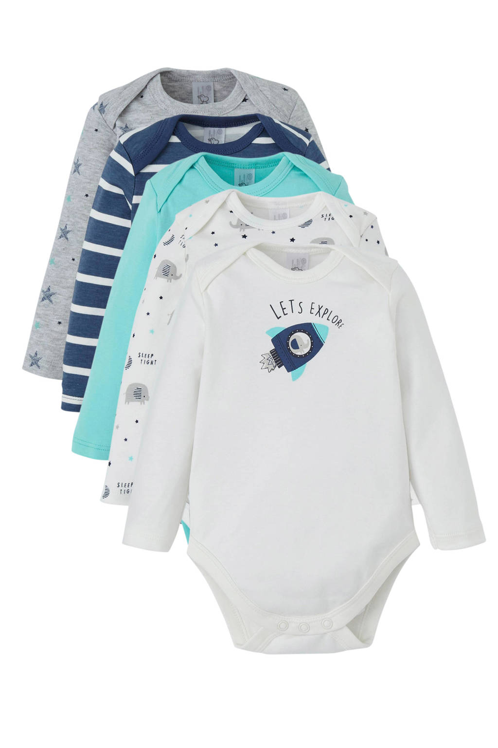 C&A Baby Club romper - set van 5, wit/blauw/mint