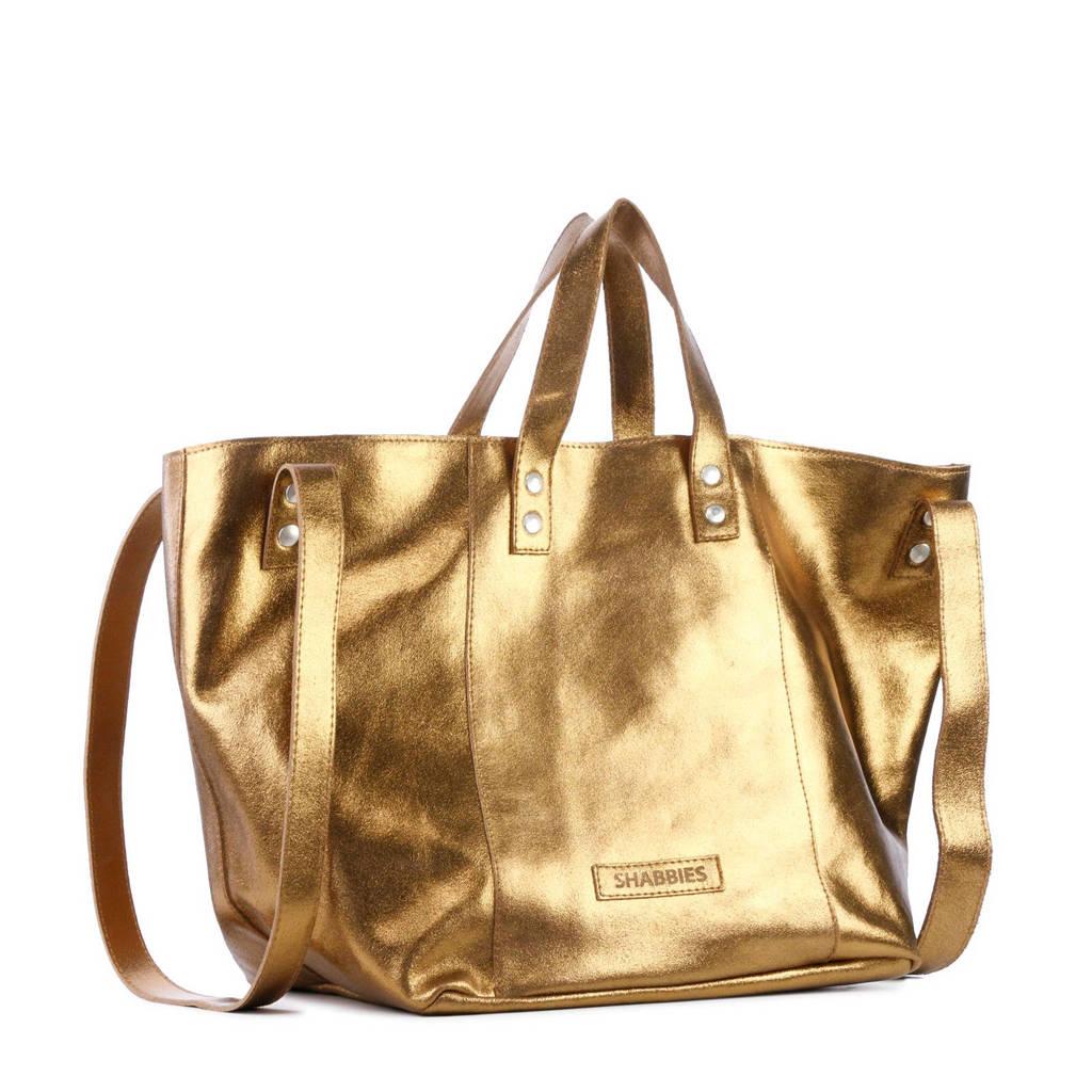 Shabbies Amsterdam  leren shopper goud/brons, Brons/goud