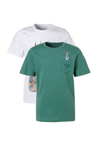 Here & There T-shirt met New York print - set van 2