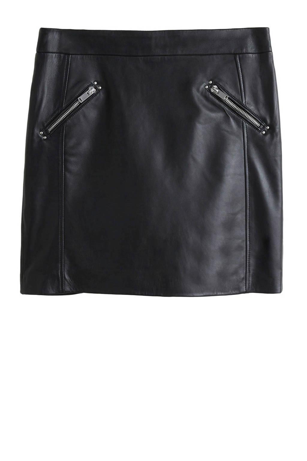 Violeta by Mango leren rok zwart, Zwart