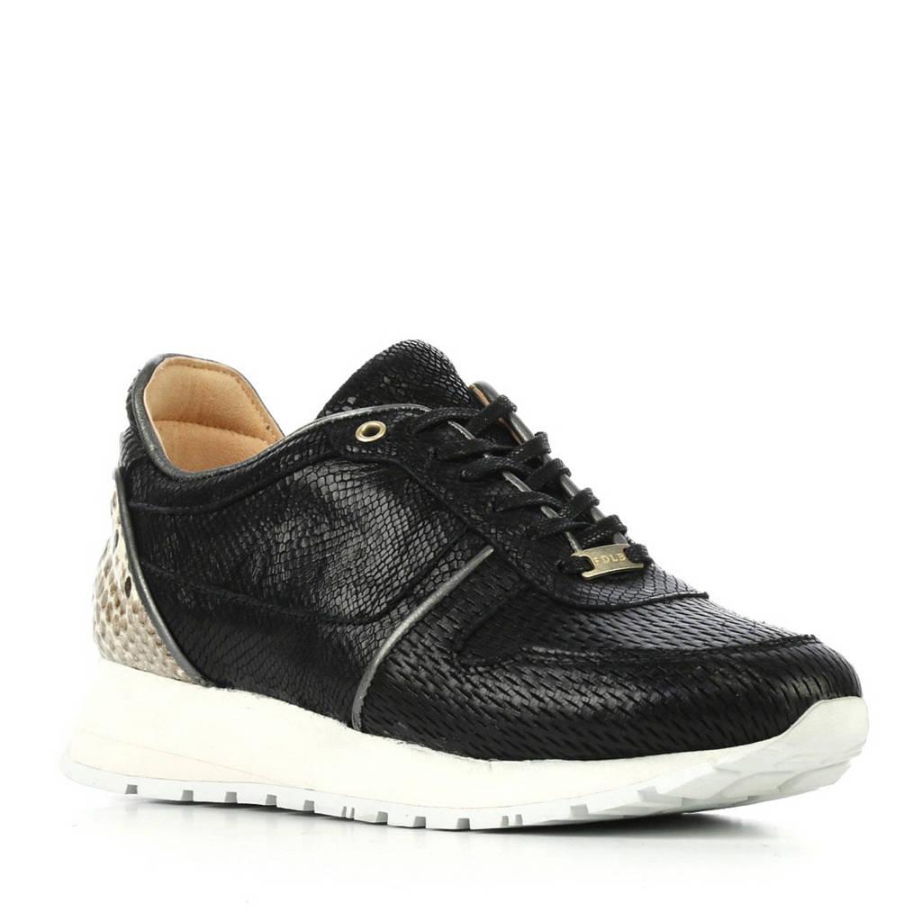 Fred de la Bretoniere  leren sneakers zwart, Zwart