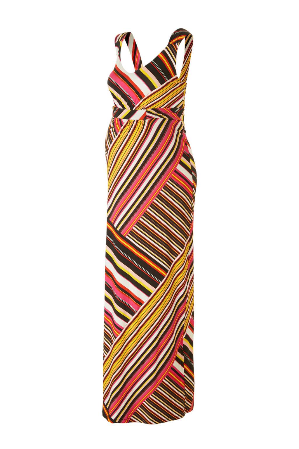 Queen mum gestreepte maxi zwangerschapsjurk zwart, Zwart/geel/roze