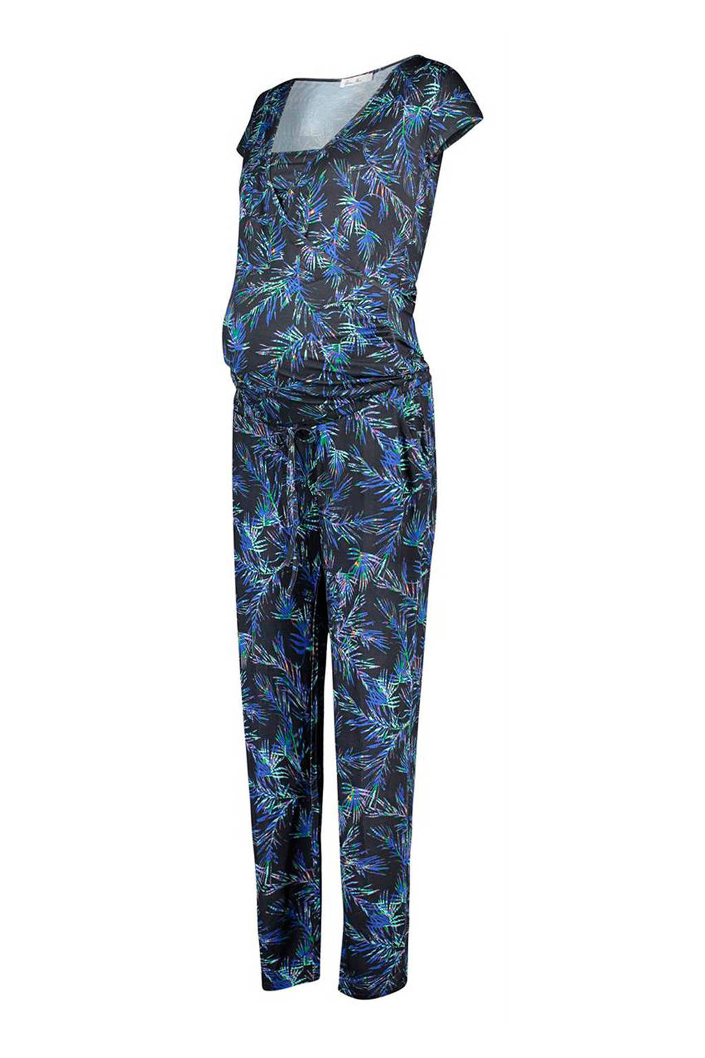 Queen mum zwangerschap+voeding jumpsuit met bladerprint, Donkerblauw