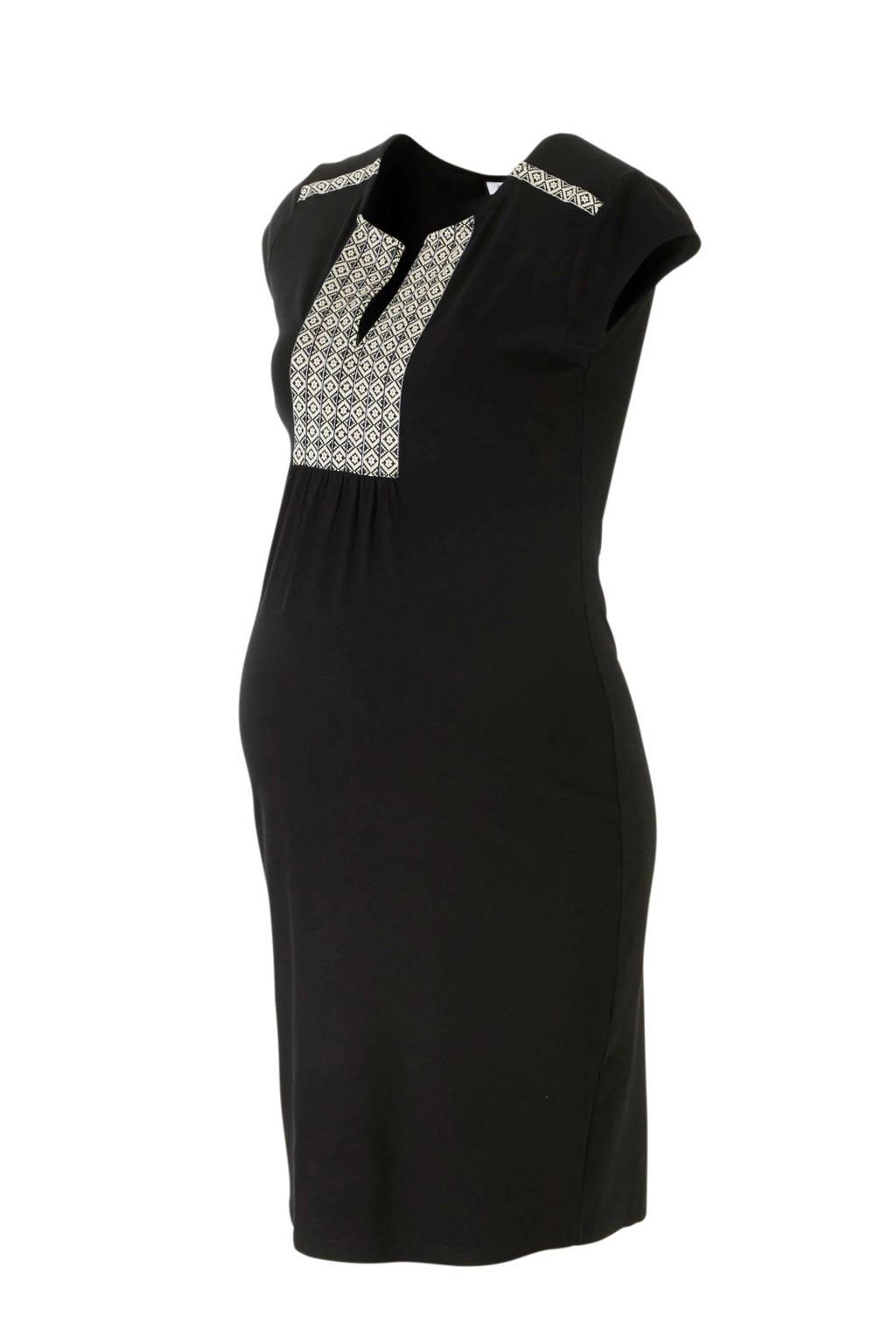 Queen mum zwangerschapsjurk met borduursels zwart, Zwart/ecru