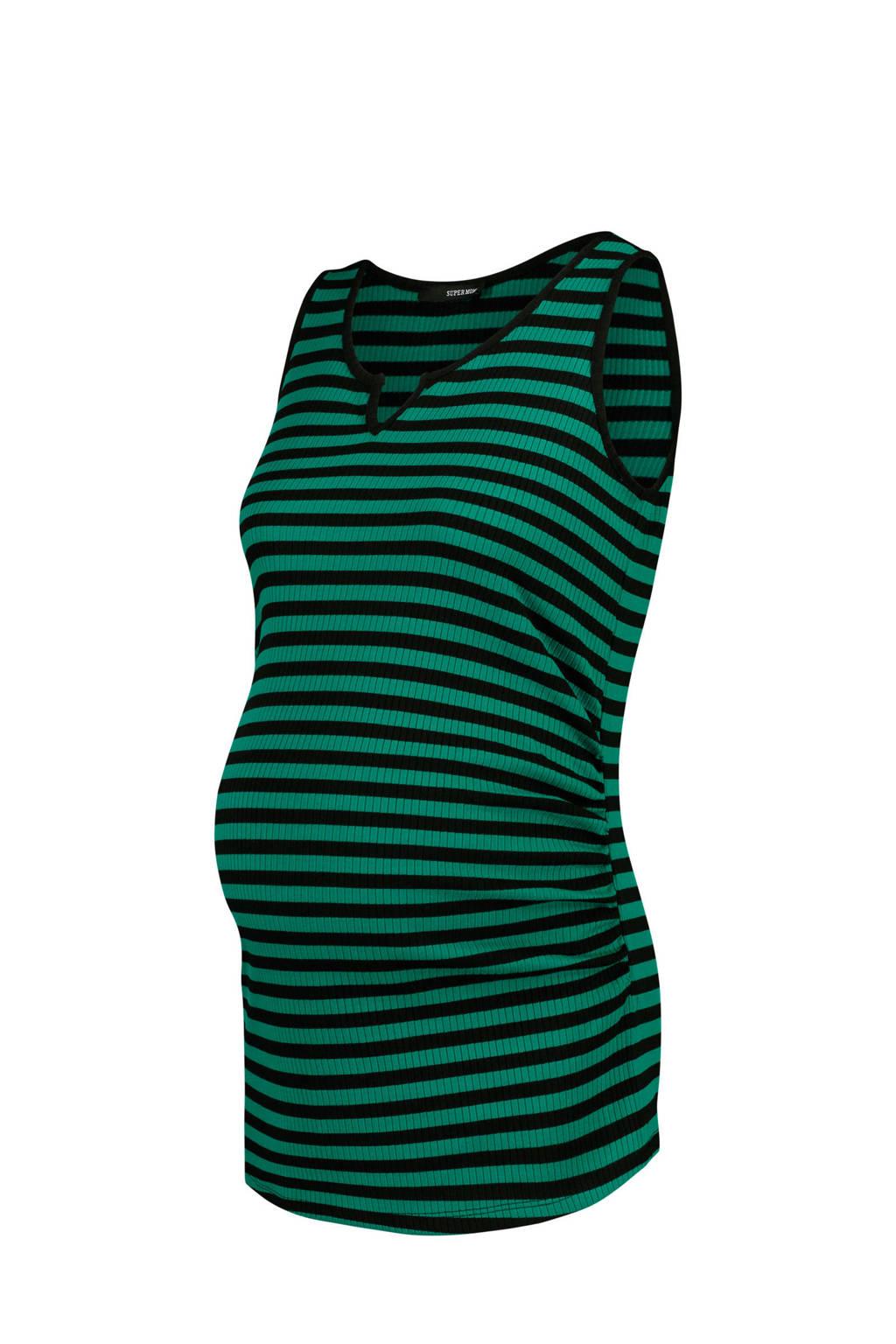 Supermom zwangerschapssinglet Base Stripe groen, Cadmium Green Stripe-P182