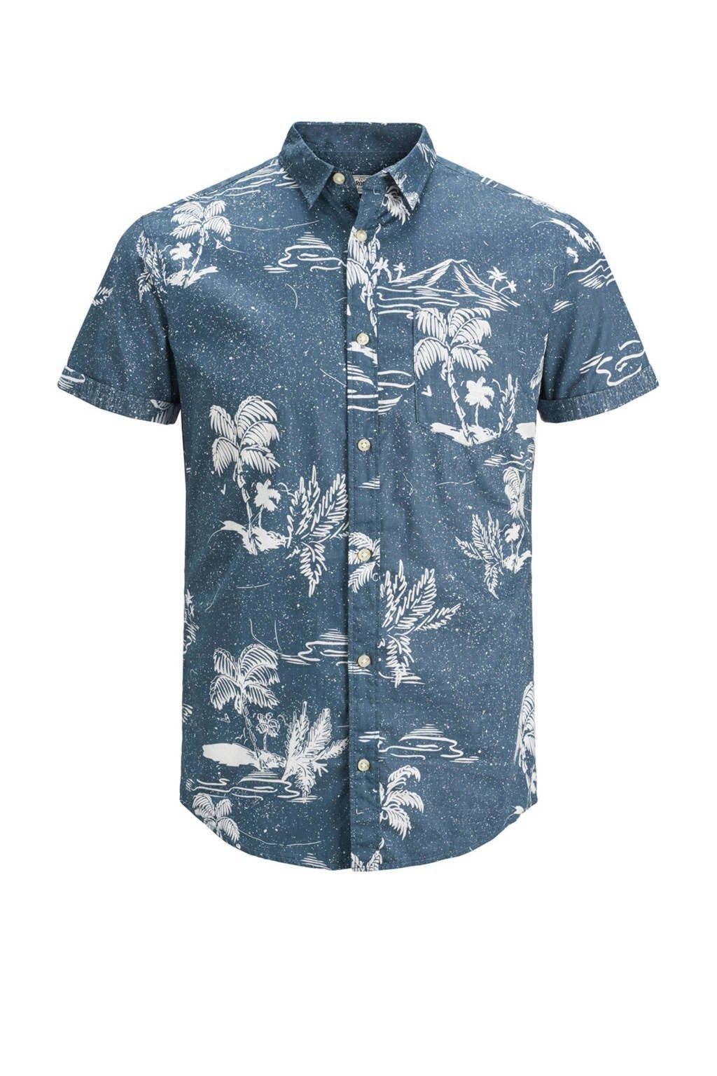 PRODUKT overhemd met dessin, Blauw/wit