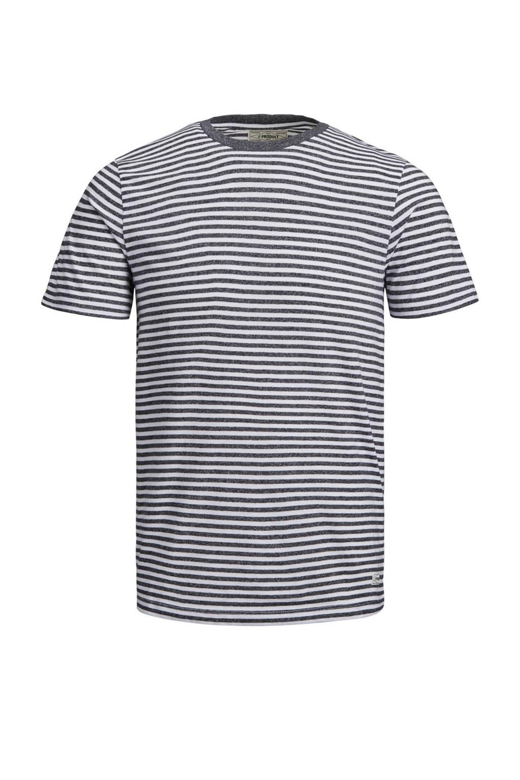 PRODUKT T-shirt met streep, Grijs/wit