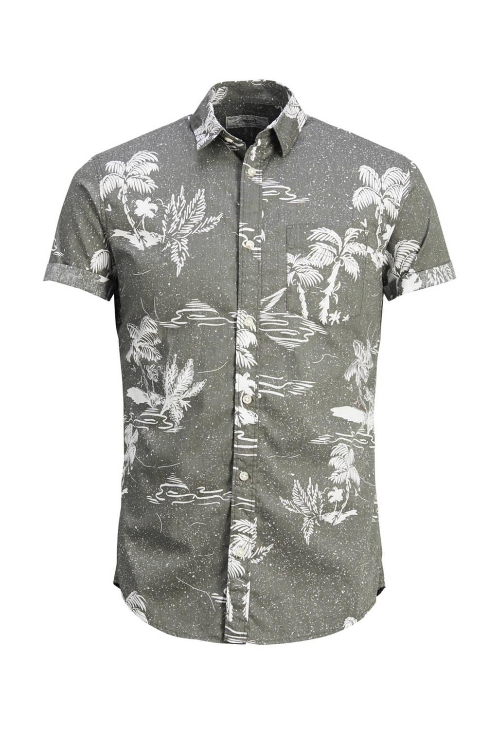 PRODUKT overhemd met dessin, Khakigroen
