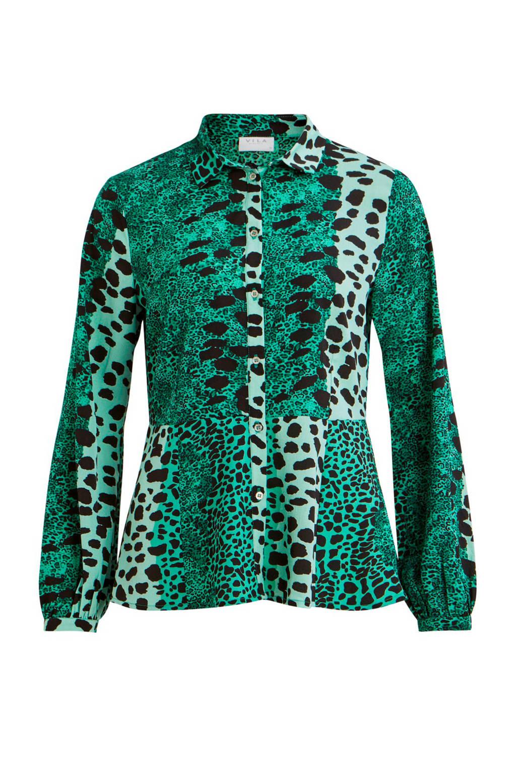 schattig veel modieus speciaal voor schoenen blouse met panterprint groen