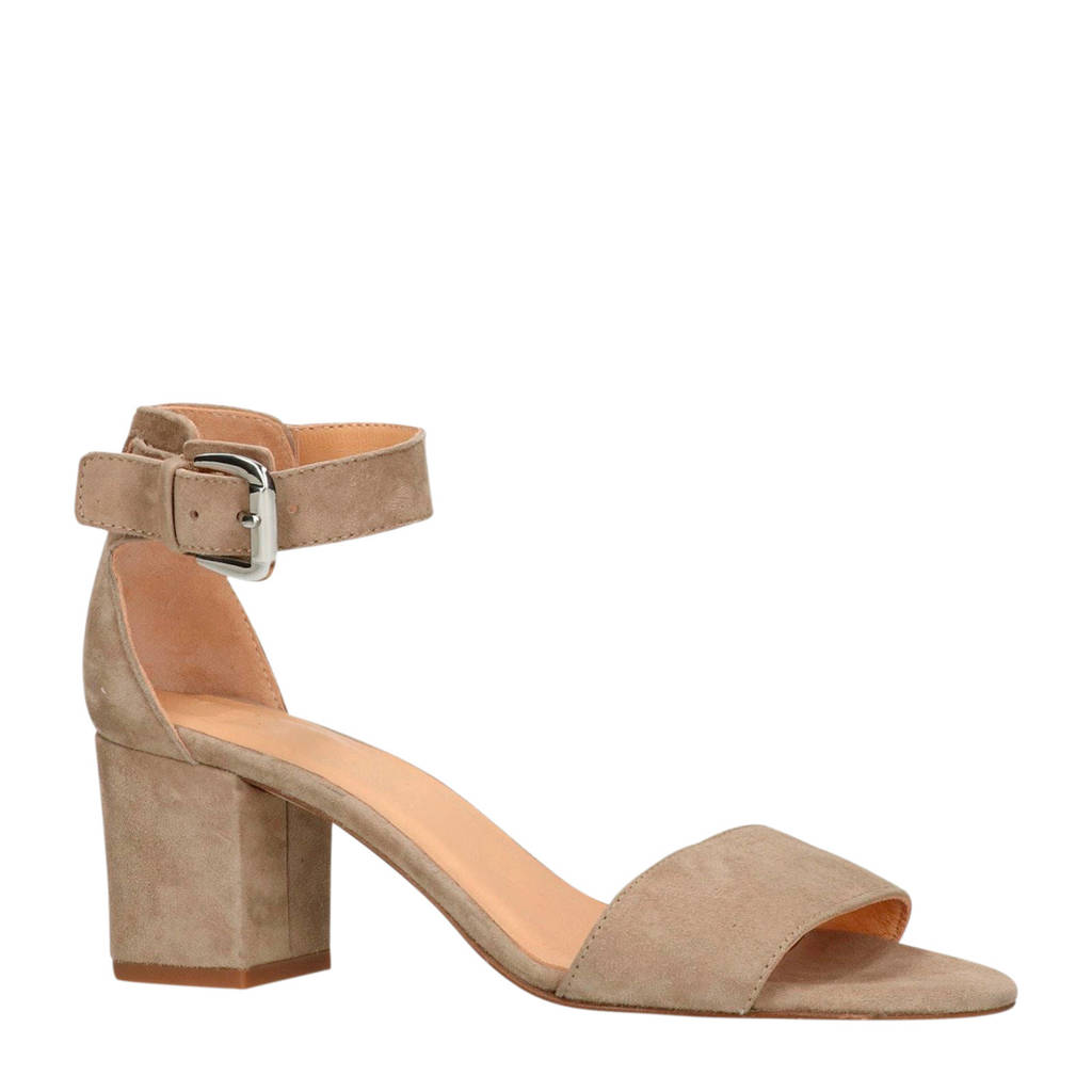 Manfield suède sandalettes beige, Beige/taupe