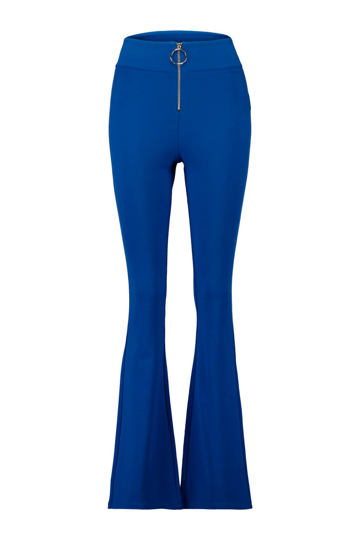 high waist flared broek blauw