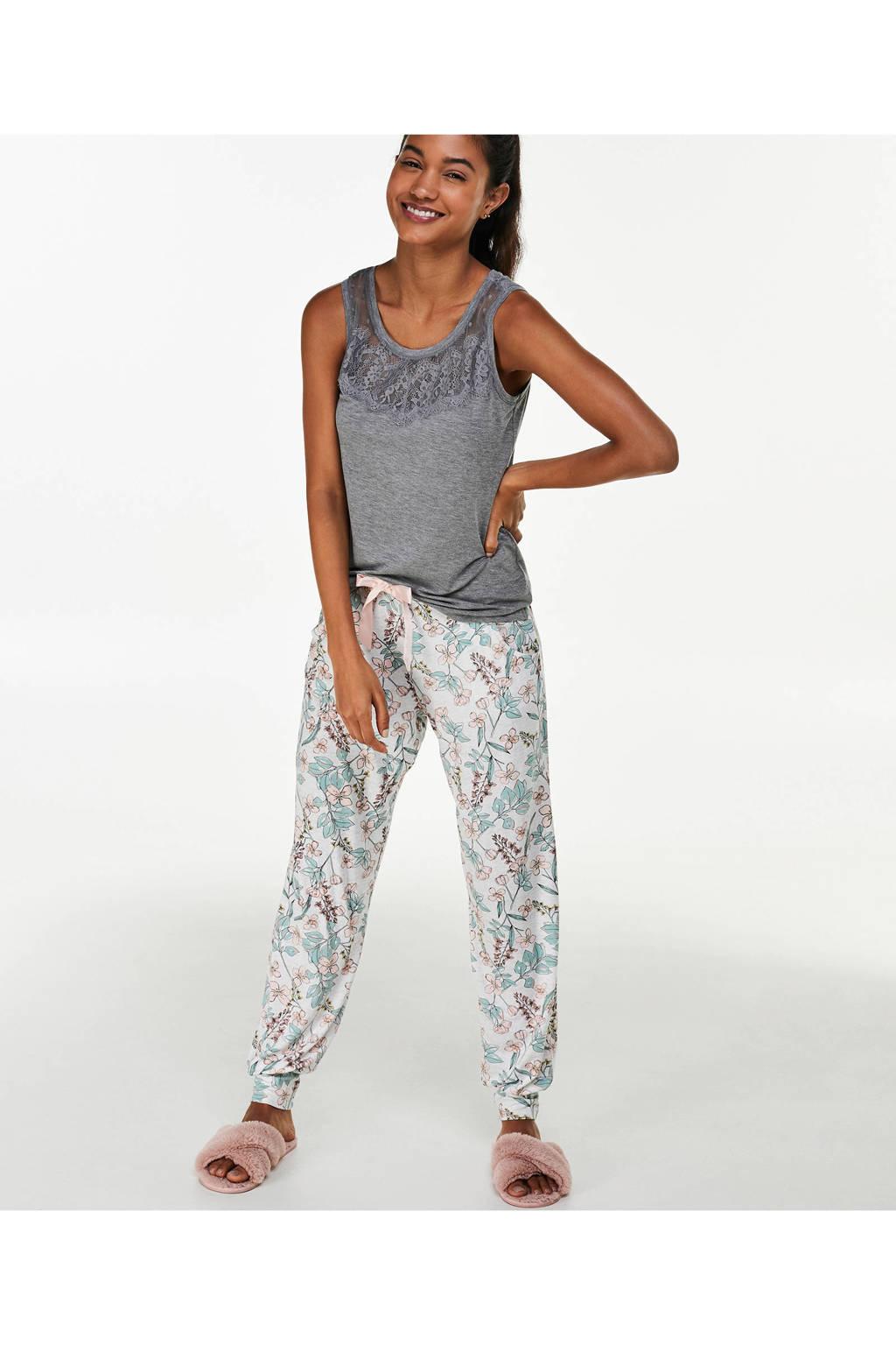 Hunkemöller pyjamatop met kant grijs, Grijs