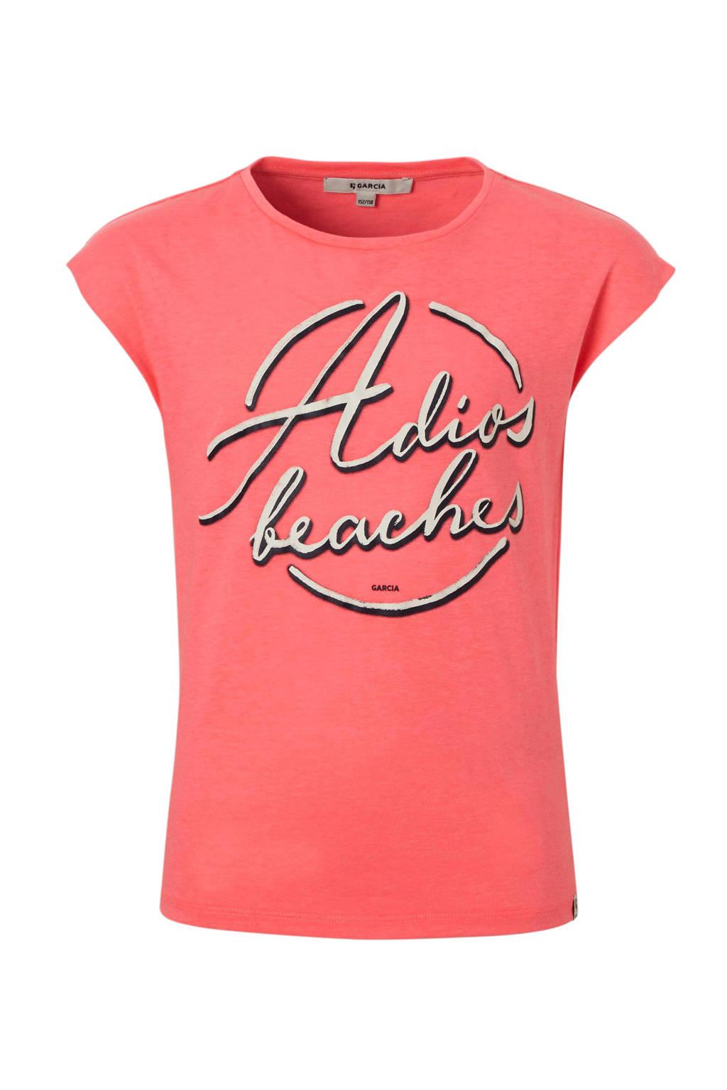 81cd4a96b1781f Garcia T-shirt met tekst roze   wehkamp