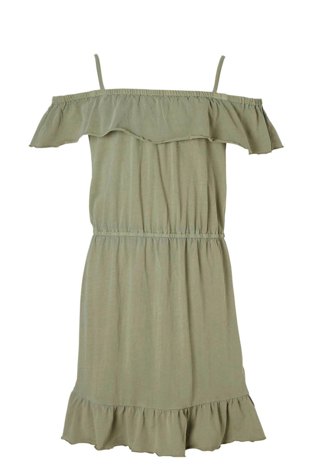 Garcia offshoulder jurk met spaghettibandjes kaki, Kaki