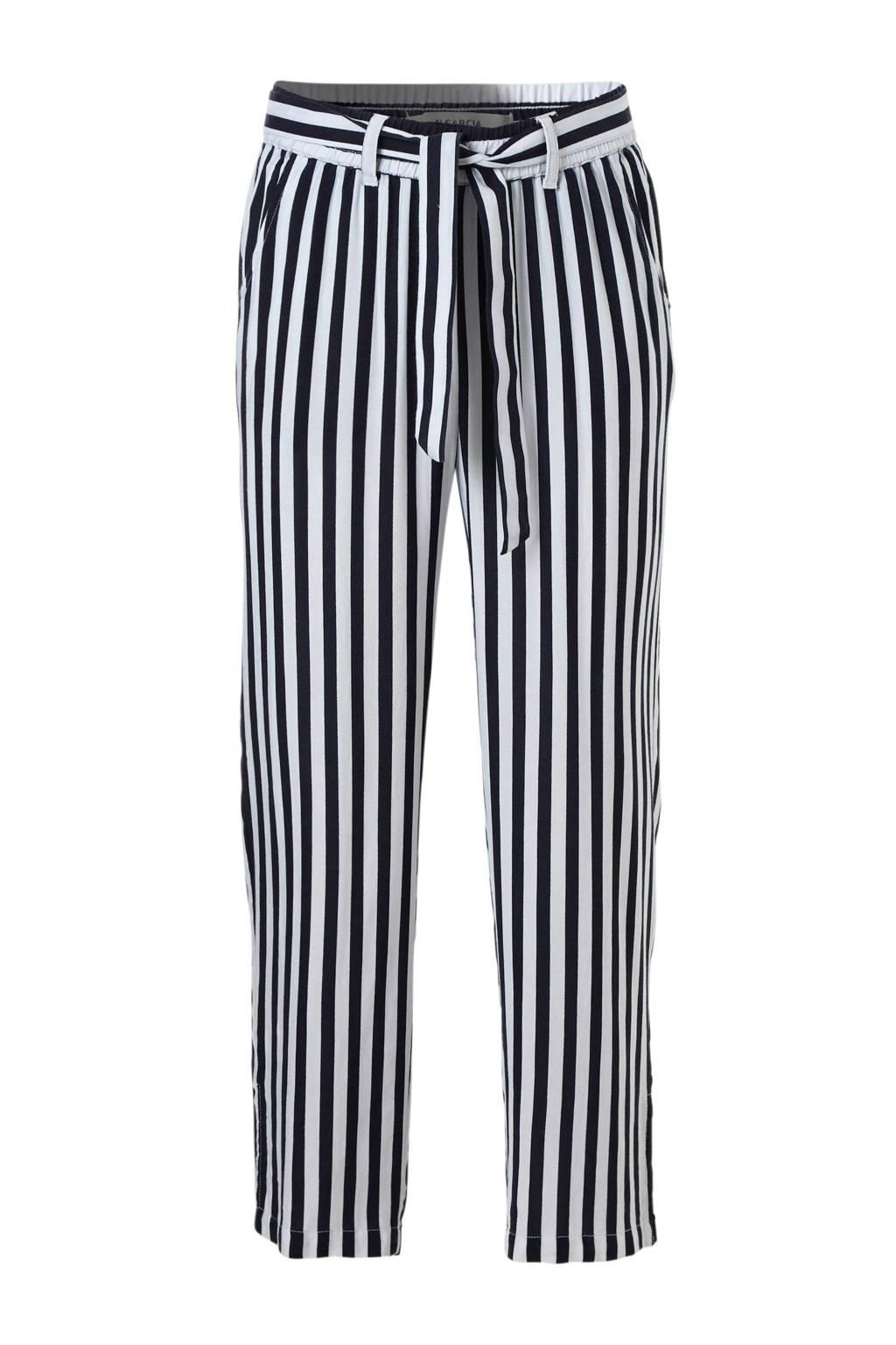 fe16fc71042 Garcia gestreepte broek zwart, Zwart/wit