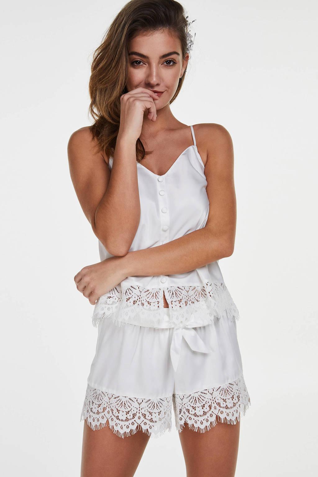 Hunkemöller satijnen pyjamashort wit, Wit