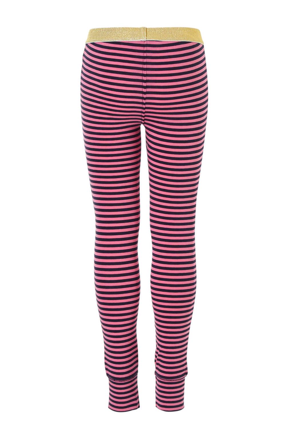 Z8 gestreepte legging Brechtje roze/blauw, Roze/blauw