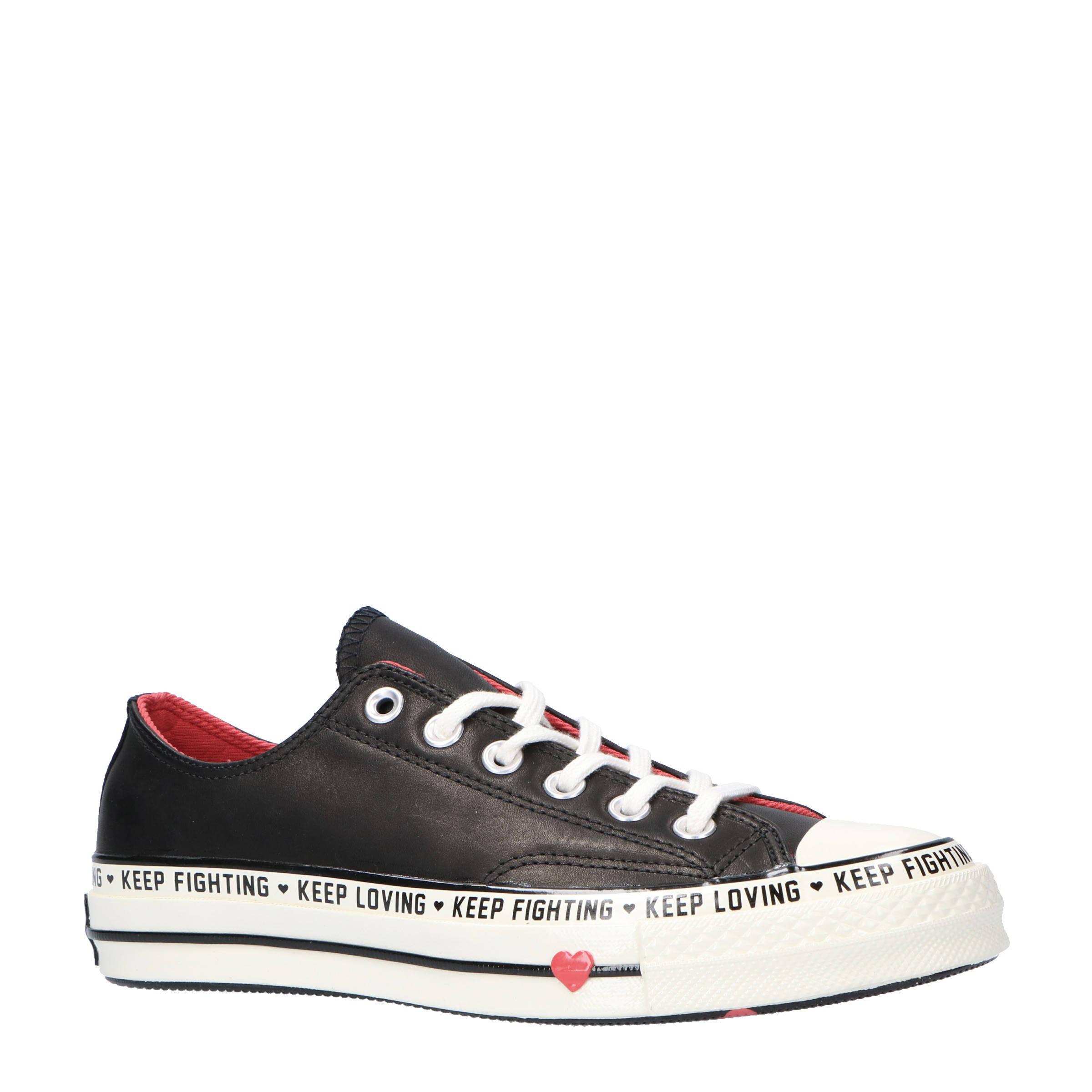 converse leren sneakers zwart