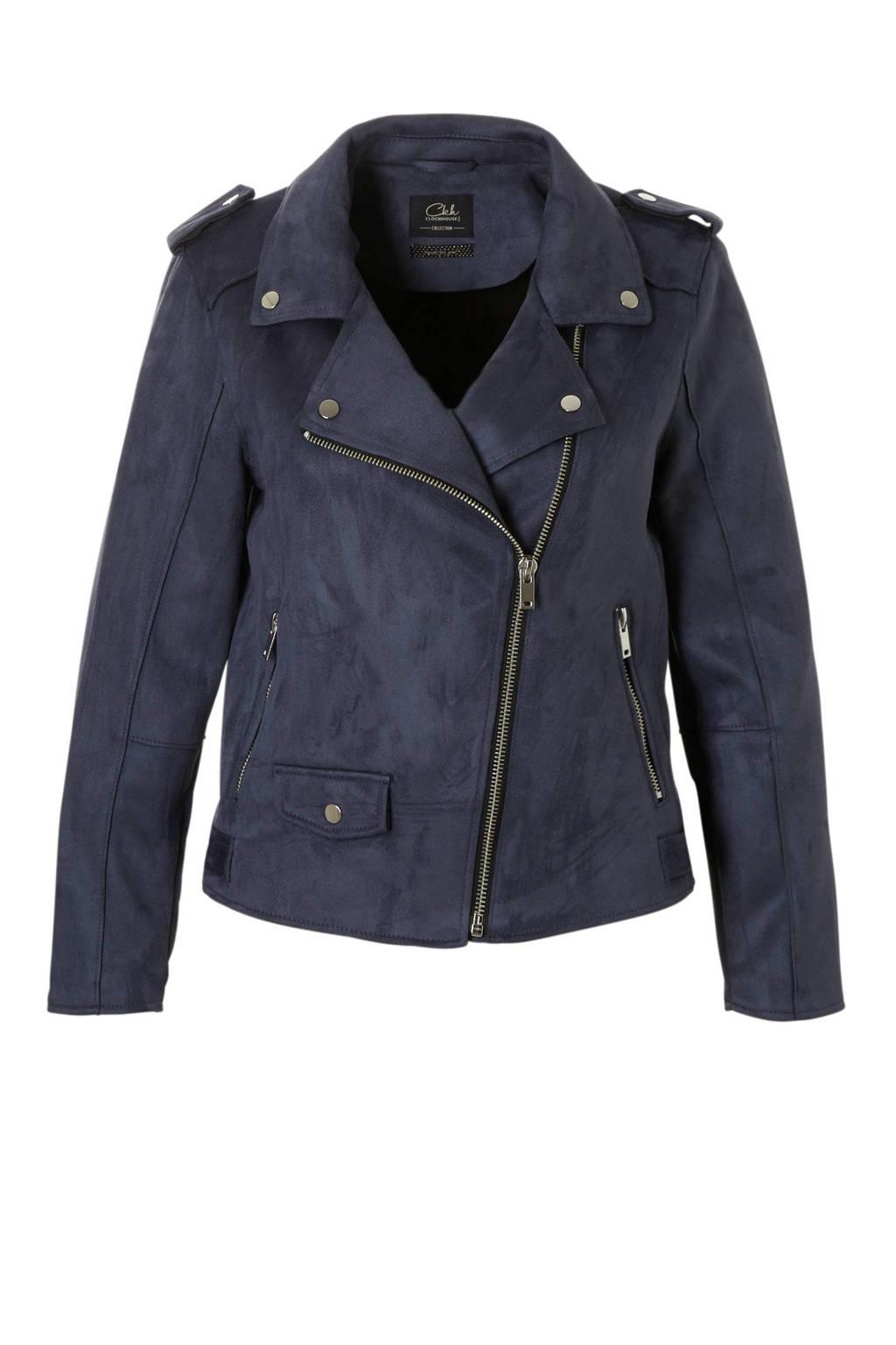 C&A XL Clockhouse suede jasje blauw, Blauw