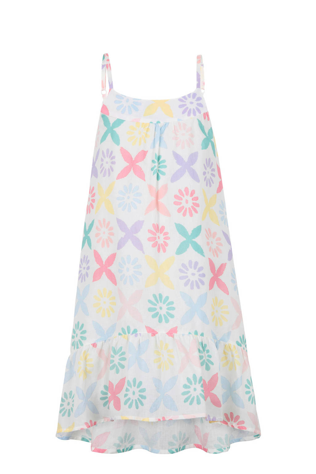 Marc O'Polo jurk Pinafore met all over dessin wit, Wit