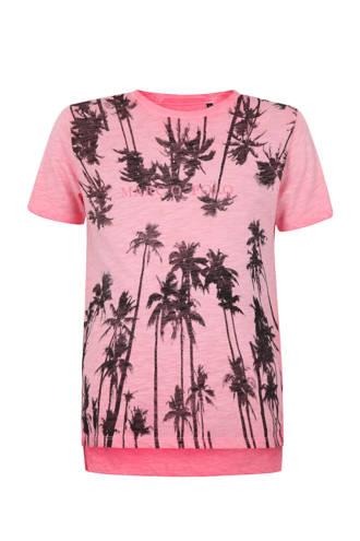 T-shirt met palmbomen en logo roze