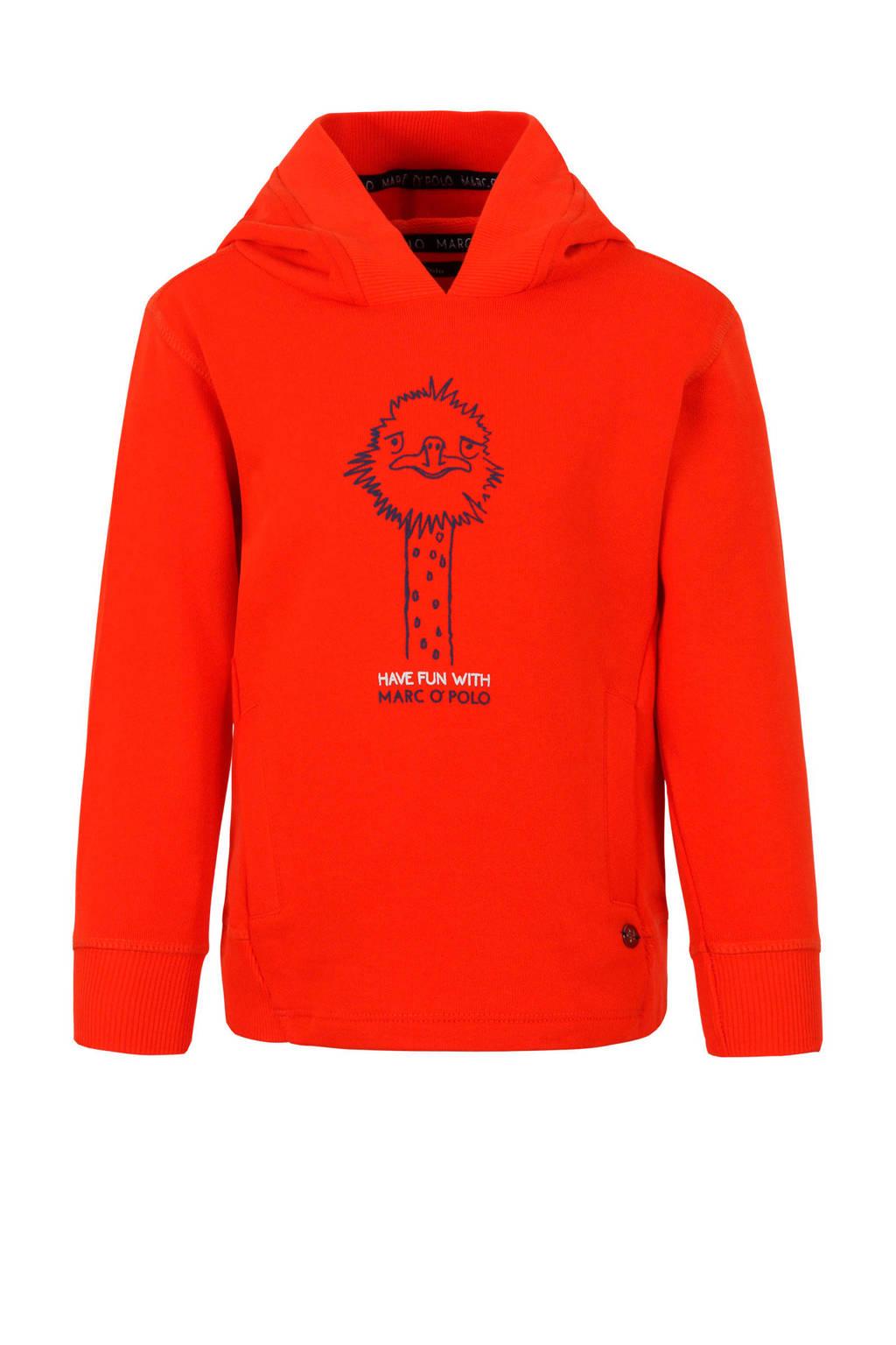 Marc O'Polo hoodie met struisvogel rood, Rood
