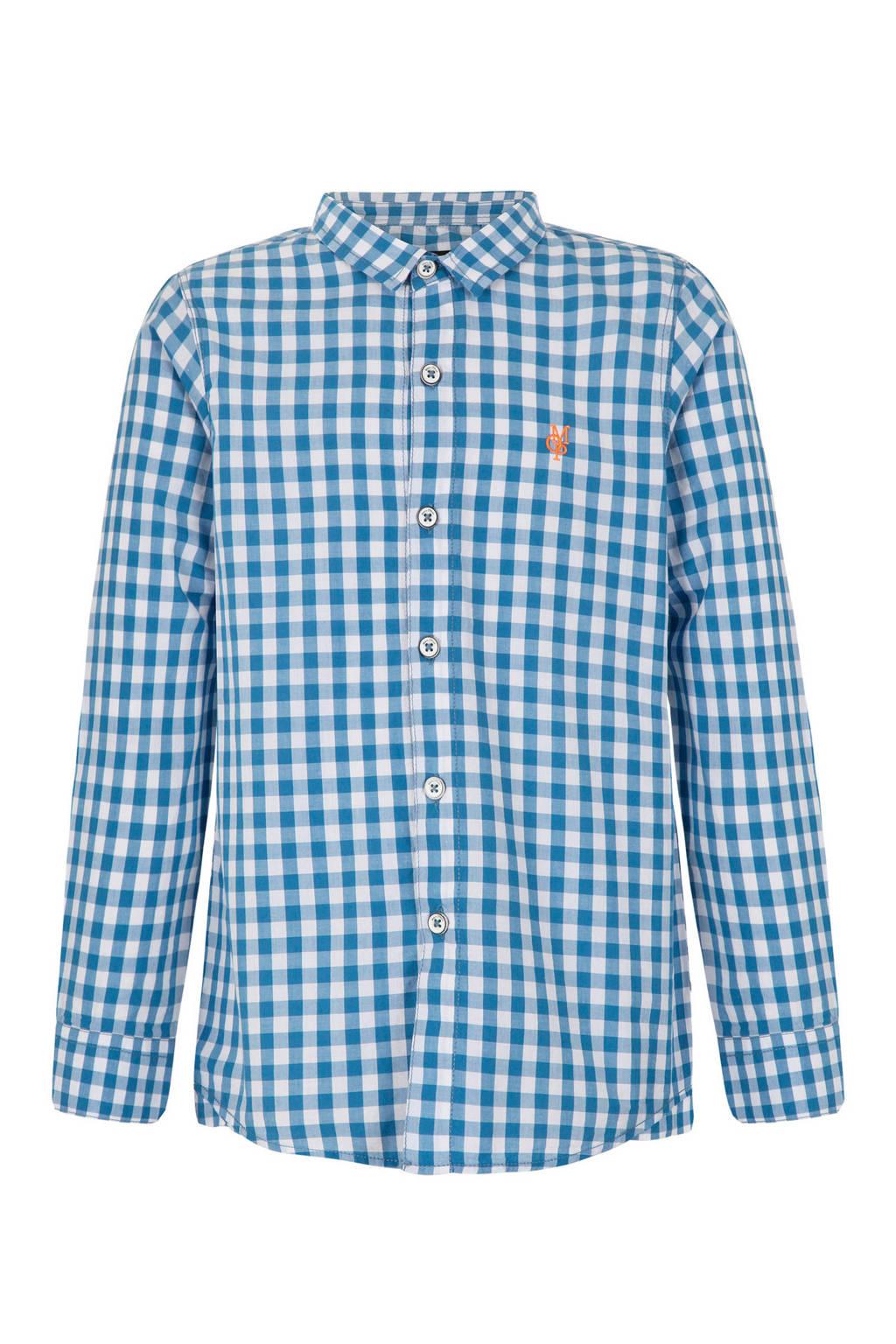 Marc O'Polo geruit overhemd blauw, Blauw/wit