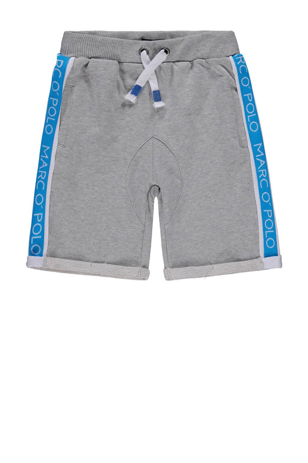 Marc O'Polo sweatshort met zijstreep grijs melange, Grijs melange/blauw