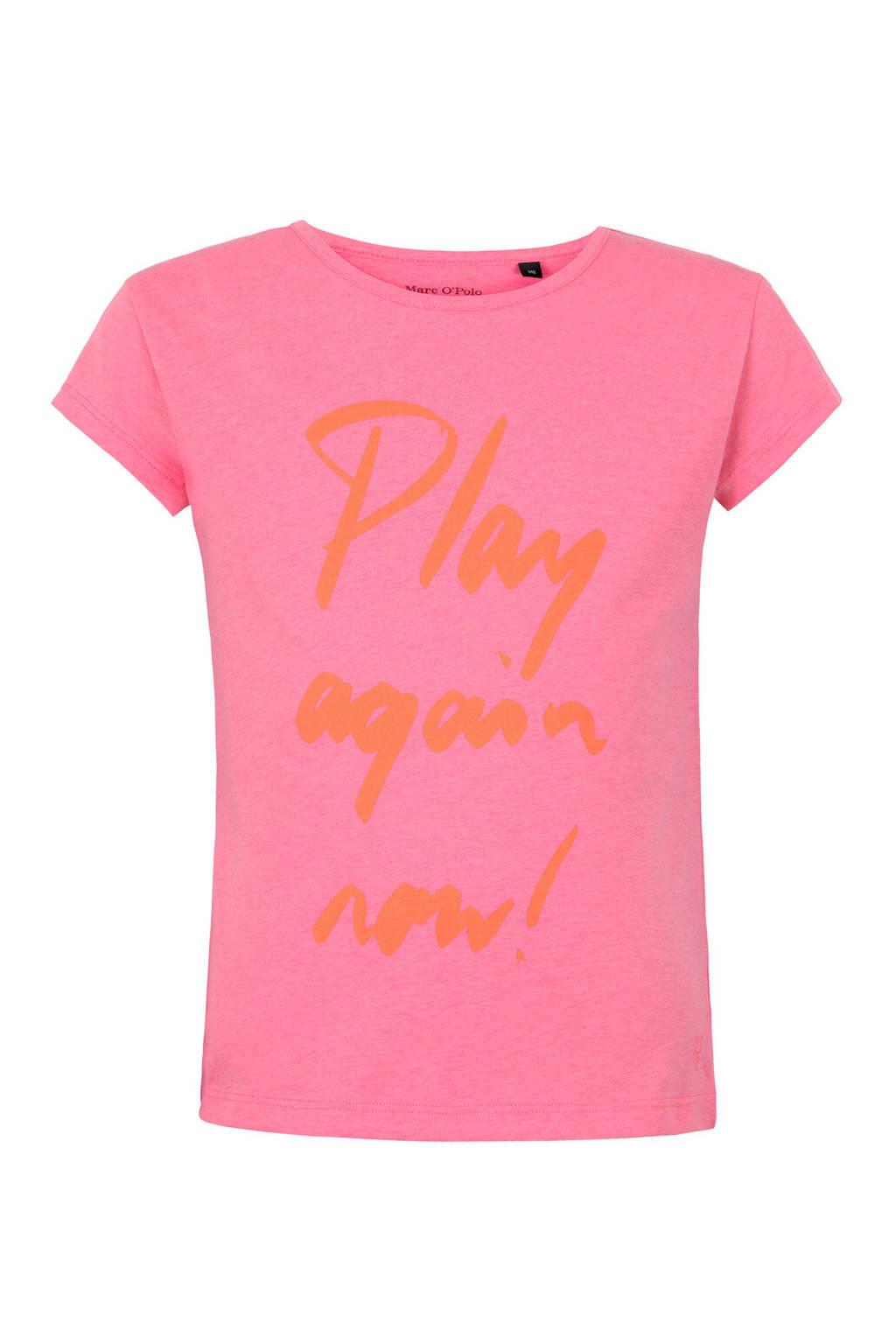 Marc O'Polo T-shirt met tekst roze, Roze
