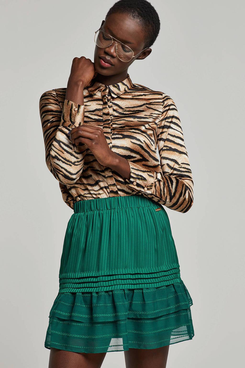 PIECES blouse met dierenprint bruin/ groen/ zwart, Bruin/ groen/ zwart