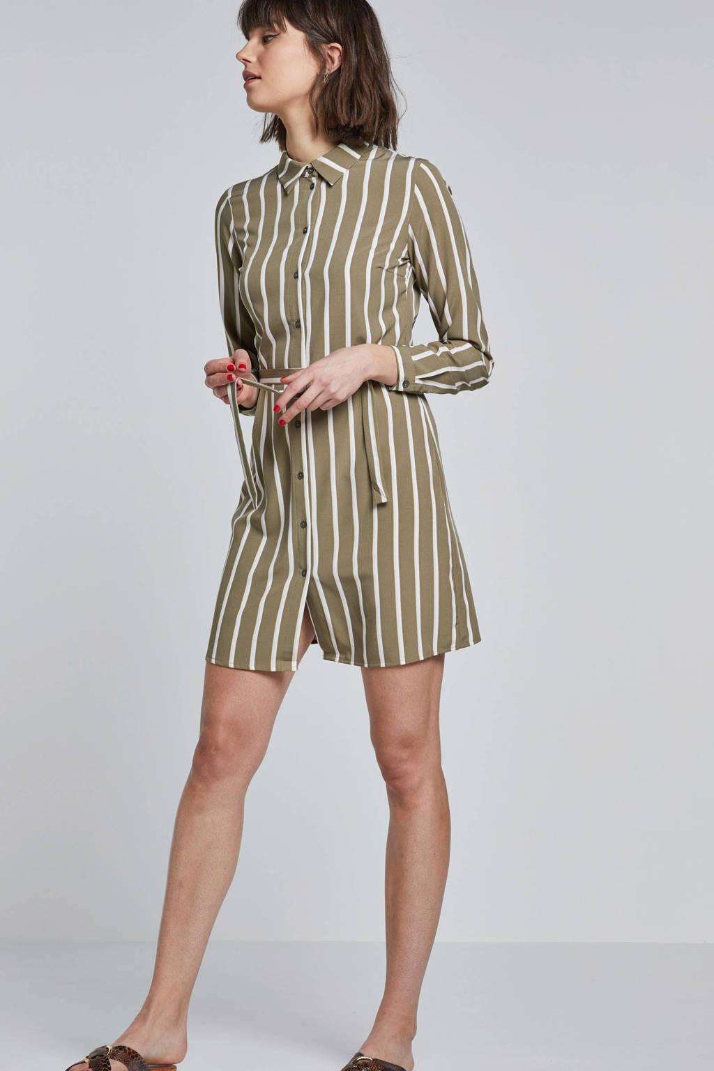 Pieces blousejurk met strepen, Groen/ wit/ geel