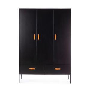 3-deurs kledingkast zwart Bliss
