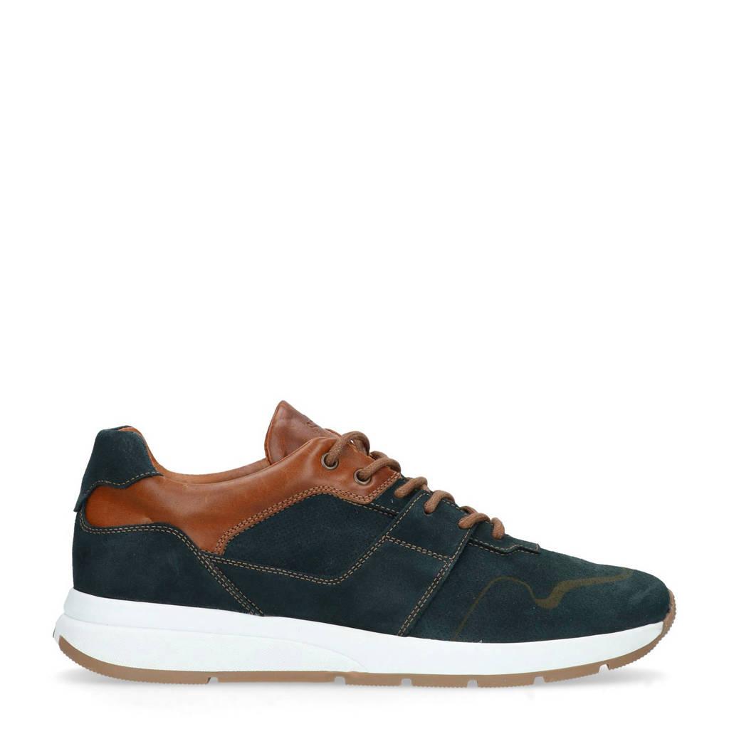 Manfield  leren sneakers blauw/bruin, Blauw/bruin