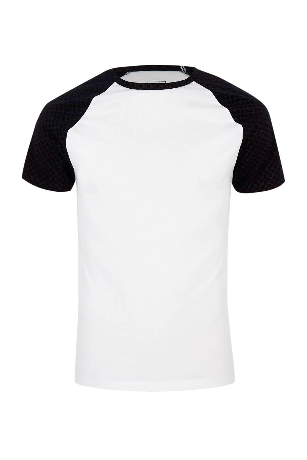River Island T-shirt met contrast mouw, Wit/zwart