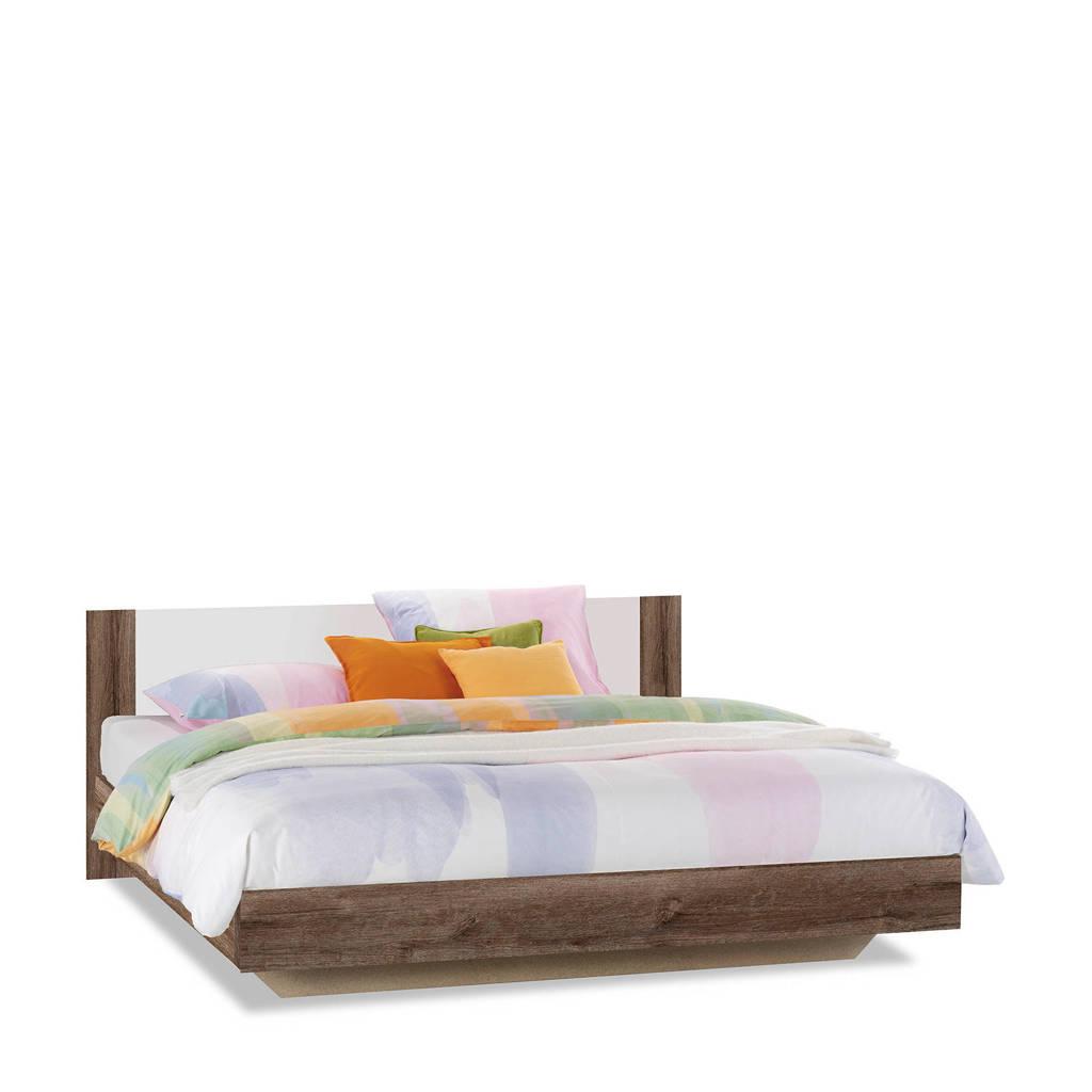Beddenreus bed Oaklyn  (180x200 cm), Donker eiken/wit
