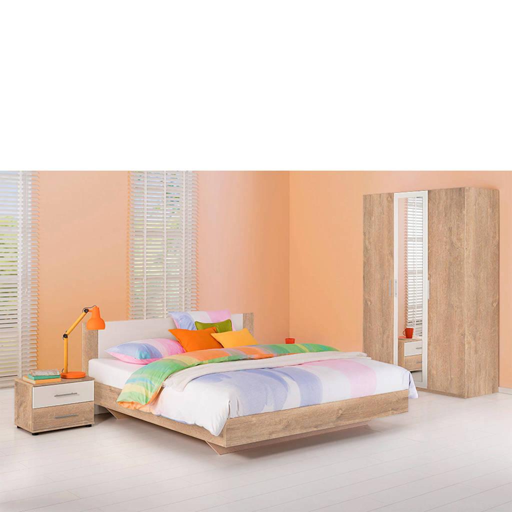 Beddenreus complete slaapkamer Oaklyn  (140x200 cm), Licht eiken/wit