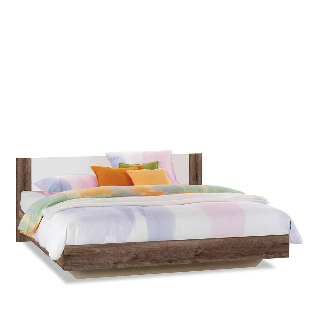 Beddenreus bed Oaklyn  (140x200 cm), Donker eiken/wit