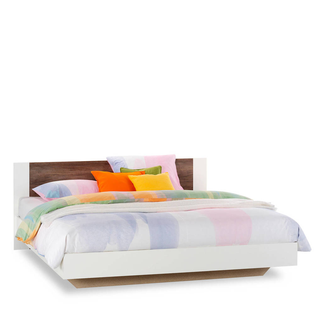 Beddenreus bed Oaklyn  (180x200 cm), Wit/donker eiken