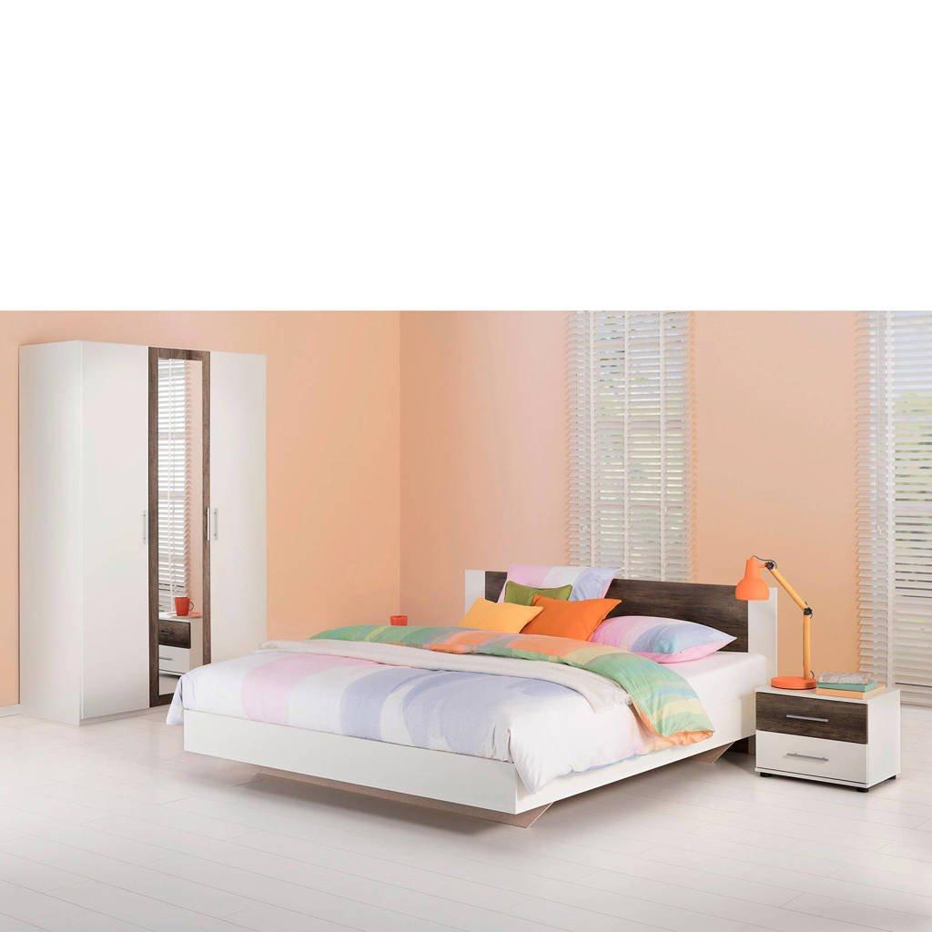 Beddenreus complete slaapkamer Oaklyn  (180x200 cm), Wit/donker eiken