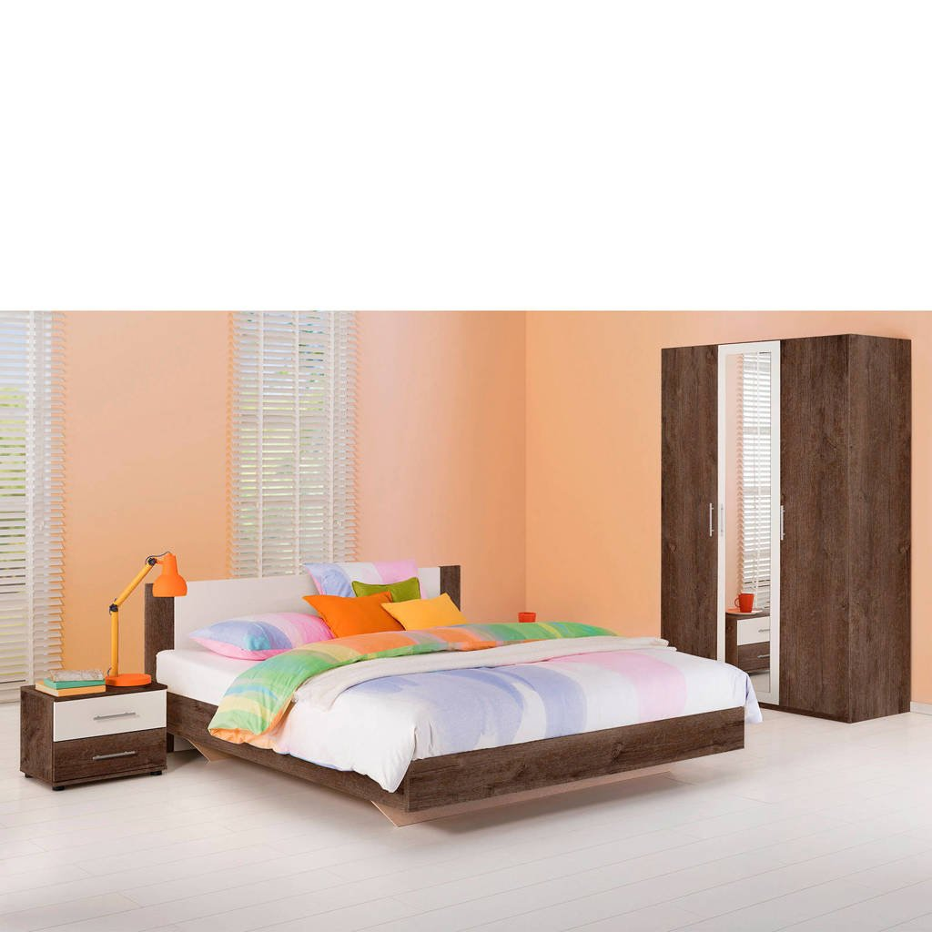Beddenreus complete slaapkamer Oaklyn  (180x200 cm), Donker eiken/wit