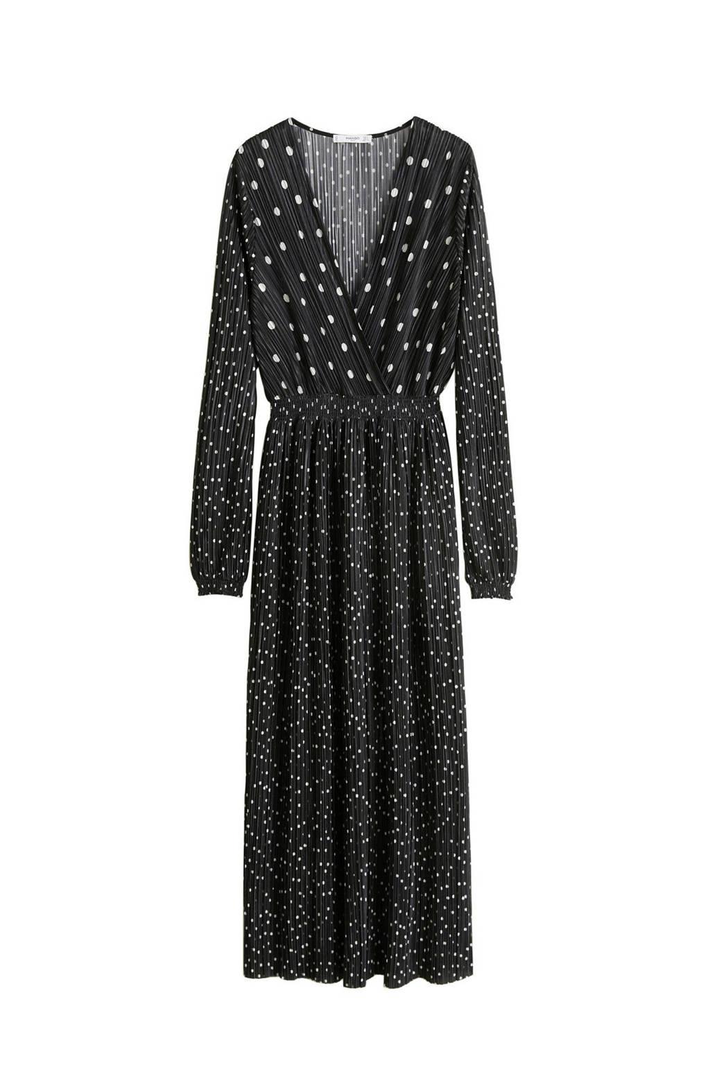 Mango jurk met stippenprint zwart, Zwart