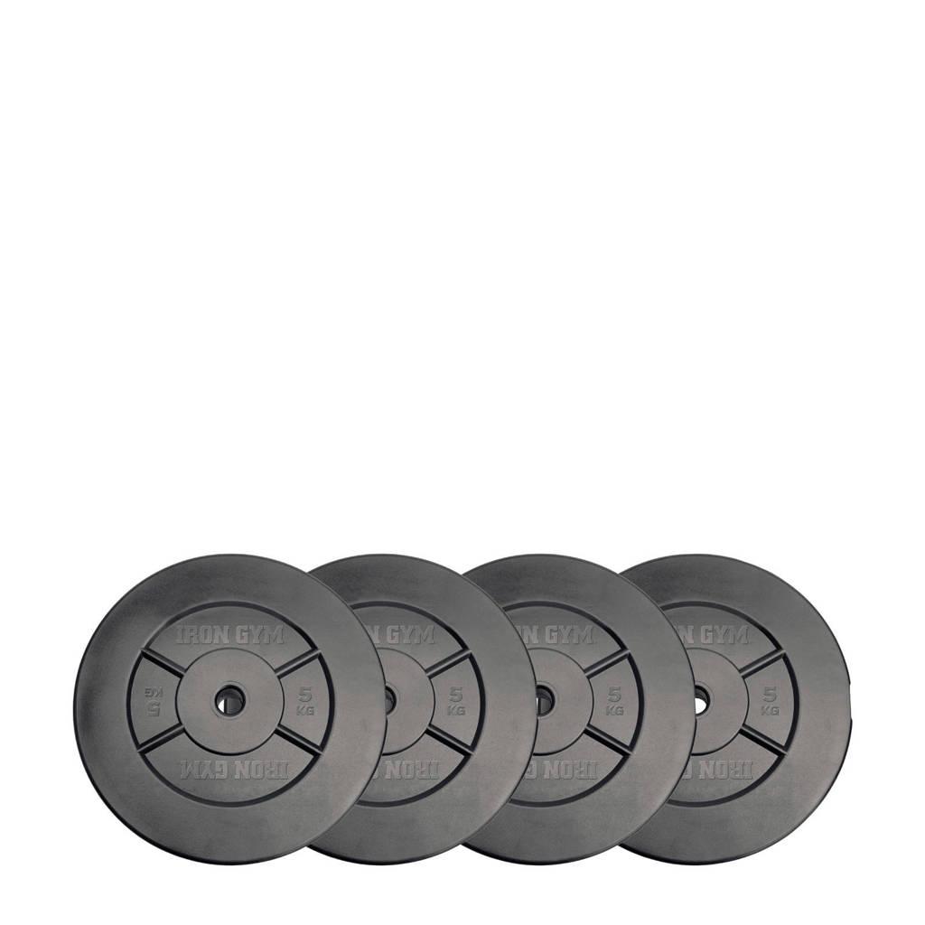Iron Gym 20kg Plate Set, 10kg x 2, Zwart